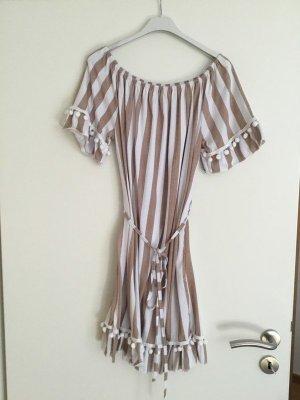 0039 Italy Sukienka bez ramiączek w kolorze białej wełny-beżowy Bawełna