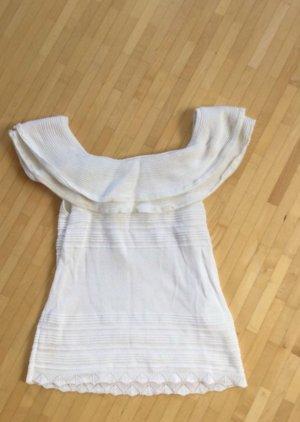 Morgan Gebreid shirt wit-licht beige