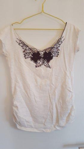 Camisa tipo Carmen marrón-blanco puro