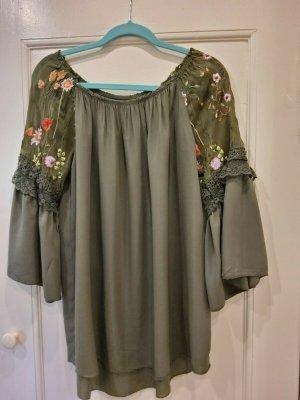 Carmen-Tunika/Bluse Made in Italy, Oliv, passend für Gr. 38-42, 3/4- Arm.