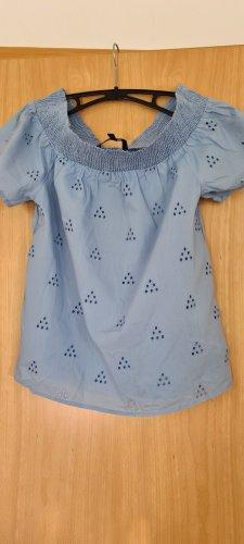 Vera Moda Carmen blouse lichtblauw-grijs-groen Katoen