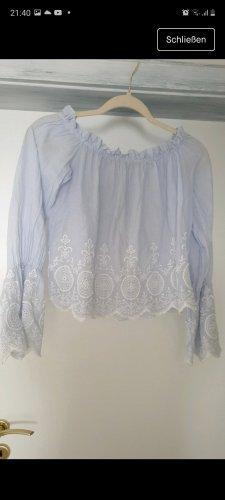 Blouse Carmen blanc-bleu azur