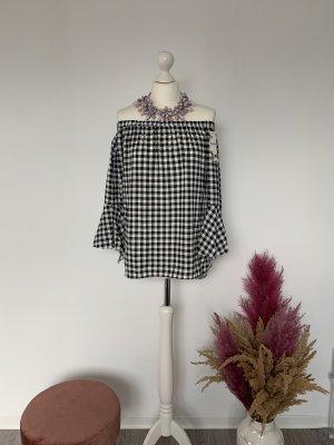 100% Fashion Blusa alla Carmen bianco-nero