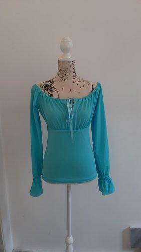 Carmen blouse turkoois