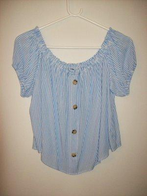 H&M Divided Blusa tipo Carmen blanco-azul celeste
