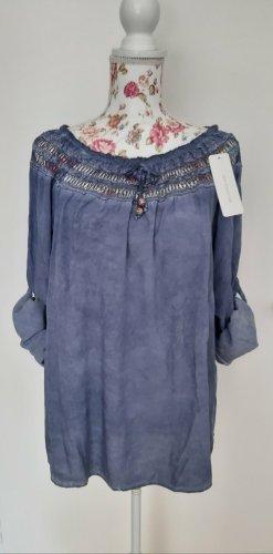 New collecttion Bluzka typu carmen stalowy niebieski