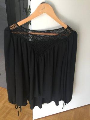 H&M Carmen blouse zwart Polyester