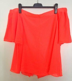 Carmenbluse in leuchtendem Neon-Orange