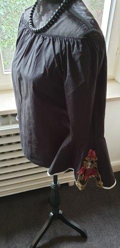 Carmen blouse zwart-neonrood Katoen