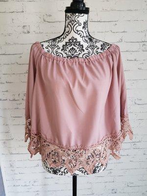 ohne Etikett Blusa alla Carmen color oro rosa