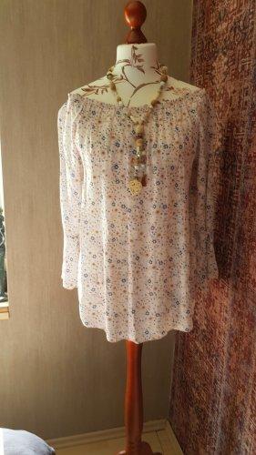 Made in Italy Blusa tipo Carmen rosa claro-azul aciano