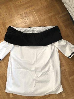 Uterqüe Carmen blouse wit-zwart