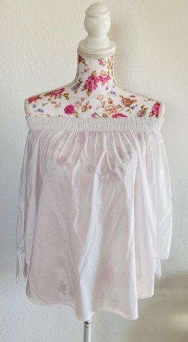 L.O.G.G Carmen blouse wit Katoen