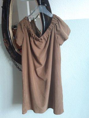 H&M Off-The-Shoulder Dress grey brown