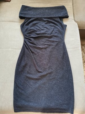 Carmenkleid blau-grau mit Glitzer, Gr S