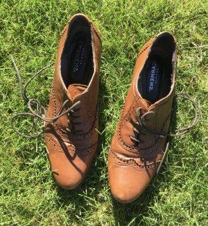 Carmens Sznurowane buty jasnobrązowy Skóra