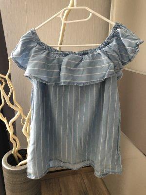 Takko Fashion Camisa tipo Carmen blanco-azul claro
