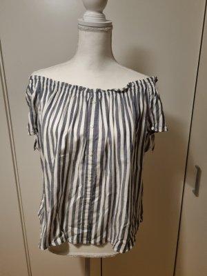 Primark Top épaules dénudées blanc-gris ardoise