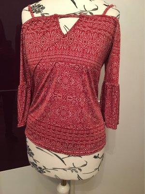 Amisu Camisa tipo Carmen rojo-blanco