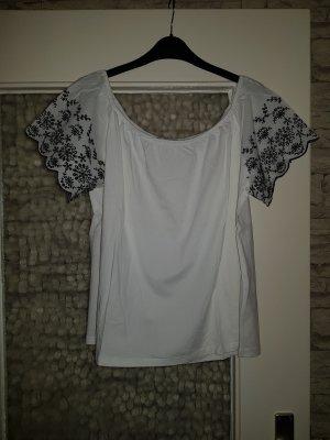 H&M Camisa tipo Carmen blanco-negro