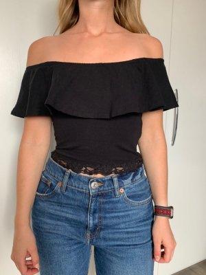 Pull & Bear Camisa tipo Carmen negro