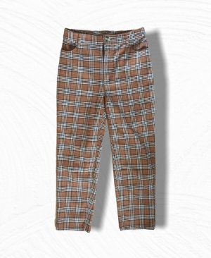 Monki High Waist Trousers dark orange-natural white