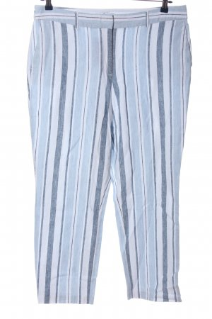 Carolina Belle Pantalon 7/8 blanc-bleu motif rayé style décontracté