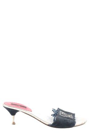 Carolina Herrera Mule à talon bleu lettrage brodé style décontracté