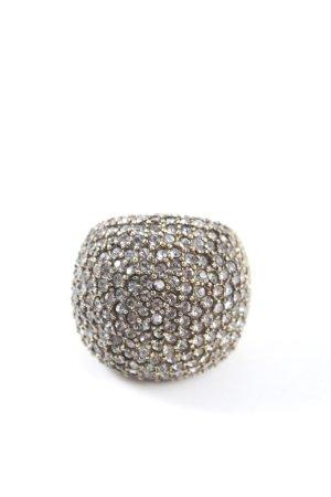 Carolina Herrera Bague incrustée de pierres doré style classique