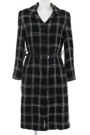 caroline biss Cappotto in lana nero-bianco stampa integrale stile professionale