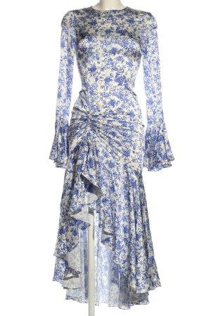Caroline Constas Blusenkleid weiß-blau Allover-Druck extravaganter Stil
