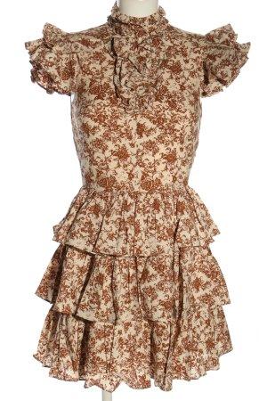 Caroline Constas Sukienka z falbanami w kolorze białej wełny-brązowy