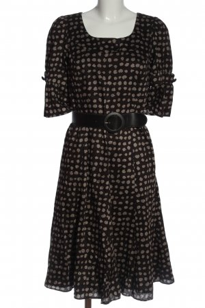 Caroll Jurk met korte mouwen zwart-lichtgrijs abstract patroon elegant