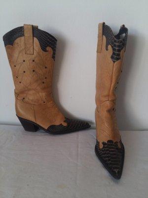 Carpi Western Boots beige-dark brown leather