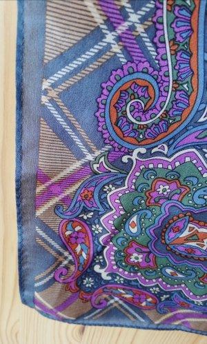 Carree-Tuch aus Seidensatin in Lila, Camel, Grau und Creme