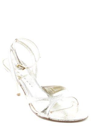Carrière Czółenka z paskiem za piętą złoto Wzór w kropki Elegancki