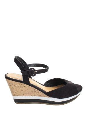 carrou Wedges Sandaletten schwarz-creme Casual-Look
