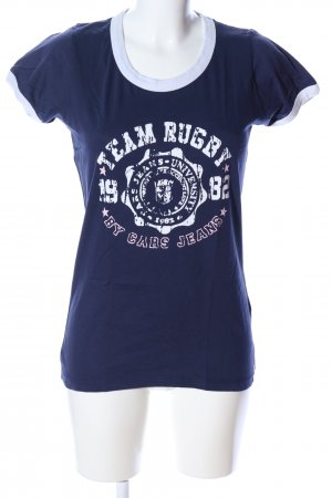 Cars Jeans Shirt met print blauw-wit gedrukte letters casual uitstraling