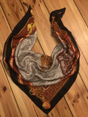 Cartier Baiser du dragon braun asiatisch Seiden Tuch Schal silk