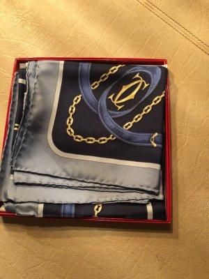 Cartier Jedwabna chusta złoto-niebieski
