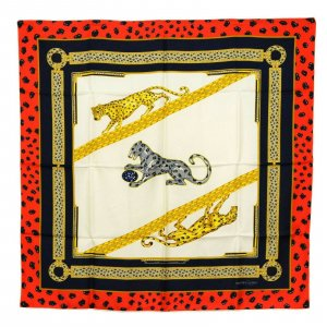 Cartier Silk Scarf Shawl Wrap Cape Panther