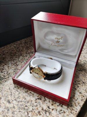 Cartier Montre avec bracelet en cuir noir-doré