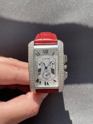 Cartier Orologio con cinturino di pelle rosso scuro