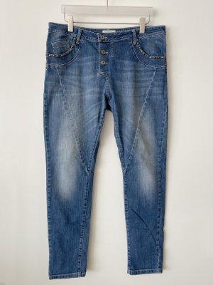 Cartoon Boyfriend Jeans Baumwolle Elasthan blau Gr. L Taschen mit Nieten