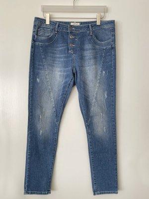 Cartoon Boyfriend Jeans blue cotton