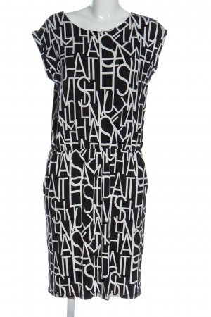Cartoon Jersey Dress black-white printed lettering casual look