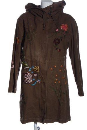 Cartoon Cappotto con cappuccio marrone motivo floreale stile casual