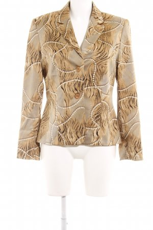 Cartoon Kurz-Blazer braun-camel abstraktes Muster Business-Look
