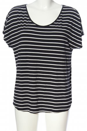 Cartoon Kurzarm-Bluse schwarz-weiß Streifenmuster Casual-Look