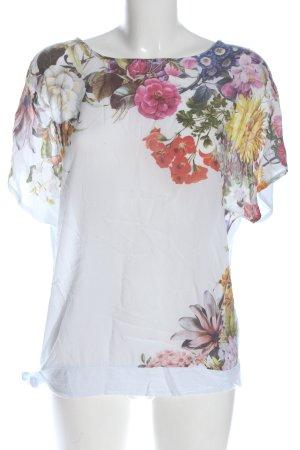 Cartoon Short Sleeved Blouse flower pattern casual look